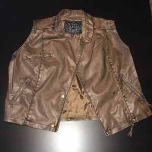 Brown Faux Leather Button/Zip Up Vest, Size XL